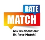 "Graphic says ""Ask us about our 1% Rate Match"""