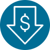 icon-downward arrow with money symbol