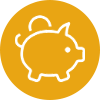 icon-gold piggy bank symbol