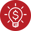 icon-red lightbulb money symbol